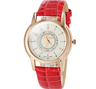 Women's Simple Round Dial PU Band Quartz Analog Casual Watch (Assorted Colors)