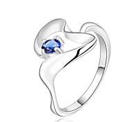 Women`s Glamorous Skeleton Heart Shaped Silver Plated Zircon Ring (Silver) - US Size 8