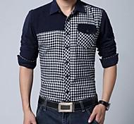Men's Contrast Color Long Sleeves Cotton Shirt