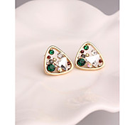 Fashion Korea Triangle Gemstone Alloy Imitation Diamond Stud Earrings for Women in Jewelry