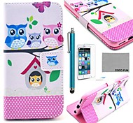 COCO FUN® Lovely Owl Family Pattern PU Leather Case for iPhone 6 6G 4.7 with Screen Protecter, Stand and Stylus
