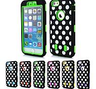 Padrão de pontos 2-in-1 caso design rígido com silicone no interior da tampa para iphone6 mais (cores sortidas)