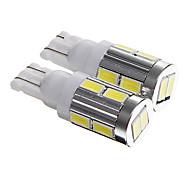 t10 5w 400lm 6000-6500k 10-SMD 5730 llevó instrumento lámpara coche fresco luz blanca de placa / / lectura (dc12v 2pcs)
