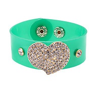 Fashion Stone Set Heart PU Bracelet