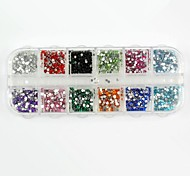 3600PCS Round Boxed Acrylic Rhinestones False Diamond for False Nail Tips Nail Art Decorations