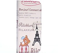 Cute Bear and Eiffel Tower Cross Texture Wallet Style Stand TPU+PU Leather Cover for iPhone 6