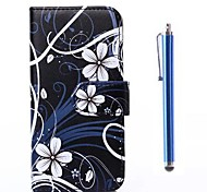 Flowers Pattern PU Leather Cover and Capacitance Pen with Stand for iPhone 6