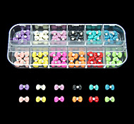 60PCS 12 Colours Magic Bowknot Resin Nail Art Decoration