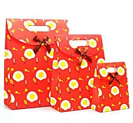 Coway 3Pcs The Happy Childhood Red Sun Egg Gluing Bags Cartoon Party Paper Gift Bag Set