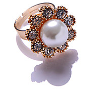 Stone Set Pearl Flower Adjustable Rings