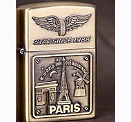Electronic USB Rechargeable Wind-Proof Metal Gold Lighters Toys(Eiffel Tower Pattern)