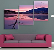 Sunset Scenery Clock in Canvas 3pcs
