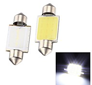Merdia Festoon 2W COB 6000K 110LM 36MM 12SMD LED Cool White Light for Car License Plate Light / Reading Lamp - (2 PCS)