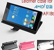 vendita calda cassa di cuoio dell'unità di elaborazione del cuoio di vibrazione 100% per Amoi a918t sinistra a destra smartphone a 3 colori