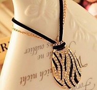Love Is Your Fashion Personality Diamond ShanZuan Black And White Zebra Sweater Chain Necklace