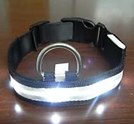Adjustable Fashionable Flashing Nylon LED Light Pet Dog Collar Safety Collar for Christmas (DD-WT, White, S)