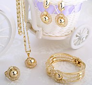 Italian Fashion Style Gold Necklace Four Piece  Jewelry Set Including Bracelets, Earrings, The Party is Tie-in