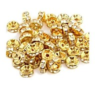 Round-Shaped With Artificial Diamond Metal Spacer Beads (50Pcs)