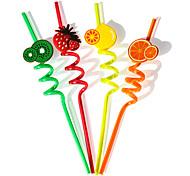 Orange Kiwi fruit Plactis Party Straws (4/Package)