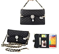 Diamond Drop Wrist Strap Full Body Leather Wallet Pouch Case for Samsung Galaxy Note 3 (Assorted Colors)