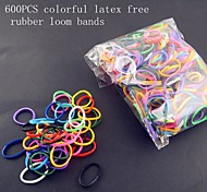 Rainbow Color Loom Style Kit for DIY Bracelet 600PCS Latex Free Rubber Bands,24PCS Clips
