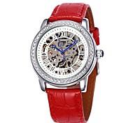 Frauen hohlen Wahl Diamant Silbergehäuse Lederband automatische mechanische Armbanduhr (farbig sortiert)