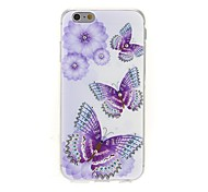 Kinston the Three Butterflies Diamond Paste Pattern TPU Soft Cover for iPhone 6/6S