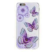 kinston die drei Schmetterlinge Diamantpaste Muster TPU Soft Cover für iPhone 6