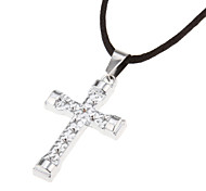 Men's (Shining Silver Cross) Black Fabric Pendant Necklace (1 Pc)