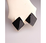 Fashion Korea Black Rhombus Stud Earrings for Women in Jewelry