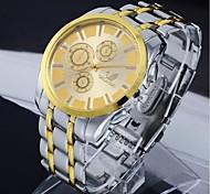 rodada relógio dos homens Coway prata Dial banda de liga de quartzo analógico impermeável pulso (cores sortidas)