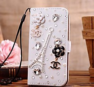 Diamond Gem Iron Tower PU Leather Full Body Case with Stand and Card Slot for iPhone 4/4S