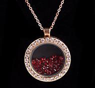 aleación redonda de cristal magnética oscura rhinestone rojo medallón de estar pendiente flotante