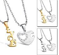 LOVE Heart Titanium Steel Set Auger Lovers Necklace Happiness Love Symbol