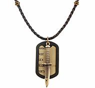 панк (ножи меч медь тег) коса черная кожа ожерелье для мужчин (1 шт)