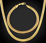 Men's Chunky 18K Gold Plated Jewelry Set (Necklace & Bracelet)