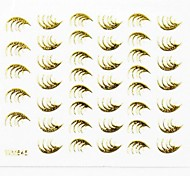 3D Nail Accessory False Nail Art Stickers Decals Gold Feather for Nail Tips DIY Nail Art Decorations