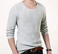 Men's Round Collar Pure Color Slim Sweater