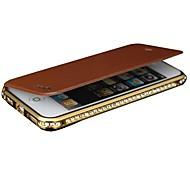 Shengo ™ Luxus-Diamant-Metall-Stoßstange mit Flip Ledertasche für iPhone 4 / 4s (verschiedene Farben)