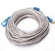 15m 49.2ft usb cable de extensión de 2.0 con un conector de alimentación del envío libre dc 5v