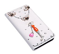 bascule bling étui en cuir fleur de portefeuille couvert avec porte-cartes de stand pour l'iphone d'apple 6