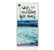 Ocean Waves Leather Vein Pattern PC Hard Case for Huawei P7