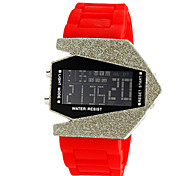 relógio de forma avião caixa de cerâmica digital de pulso banda de silicone das mulheres (cores sortidas)