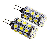 G4 4W 27x5050 SMD 300-350LM Warm/White Light LED Corn Bulb (12V 2PCS)