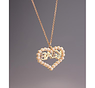 Fashion OL Baby Heart Pearl Gold Plated Necklace for Women in Jewelry Gift