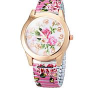 Couleur de la fleur des femmes Dial La bande de fleur bracelet de quartz élastique (couleurs assorties)