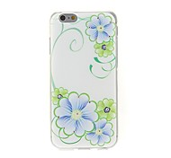 Kinston Blue and Green Flower Diamond Paste Pattern TPU Soft Cover for iPhone 6