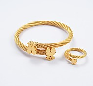 Fashion Gold Titanium Steel Bear Bracelet Tip Bangles and Rings Jewelry Sets