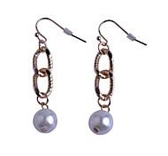 Lureme®Simple Style   Loops Pearl Alloy Earrings