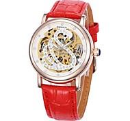 Frauen hohlen Schwan Wahlgoldgehäuse Lederband automatische mechanische Armbanduhr (farbig sortiert)